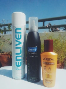 Hair Spray- Enliven Hair Mousse- Suave Serum- Loreal Smooth Shine